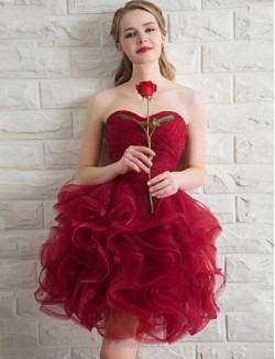 Mini Short Strapless Bridesmaid Dress With  Criss Cross Ruching