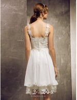 Elegant Knee Length White Chiffon Lace Bridesmaid Dress With Lace V-neck Lace Bodice