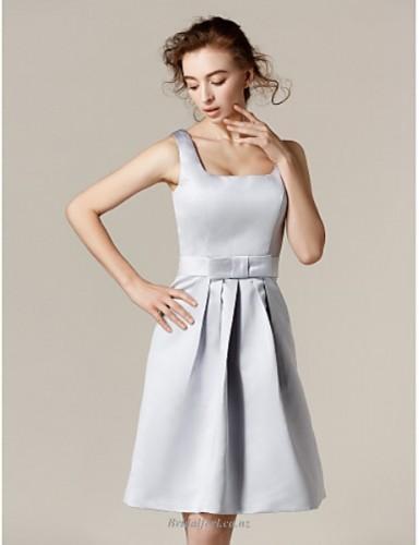 A-line Knee Length Square Neckline Zipper back Silver Satin Bridesmaid Dress