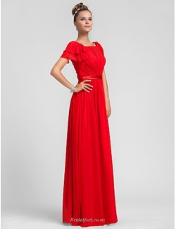 Sheath/Column Floor-Length Scoop-neck Zipper Back Red Chiffon Bridesmaid Dress