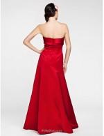 A-line Floor Length Sweetheart Zipper Back Red Satin Bridesmaid Dress