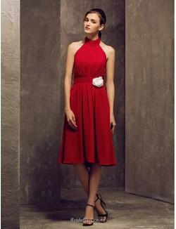 Short Knee Length Halter-Neck Zipper Back Red Chiffon Bridesmaid Dress