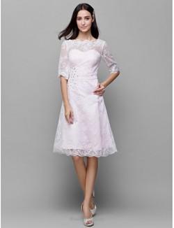 Elegant Medium-Length Lace Collar Half Sleeves Bridesmaid Dress With Sequines