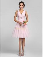 A-line Short Knee Length Pink Bridesmaid Dress V-neck Ladder Back