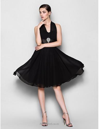 A-line Little Black Dress Halter Neck Zipper Back Short Knee Length With Beading Bridesmaid Dress
