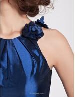 A-line Floor-Length Jewel-neck With Flower Blue Satin Zipper Back Bridesmaid Dress