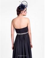 A-line Floor Length Strapless Zipper Back Black Chiffon Bridesmaid Dress With Beading