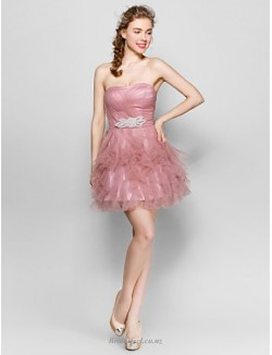 Short/Mini Strapless Lace-up Peach Tulle Bridesmaid Dress With Beading