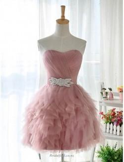 Short Mini Strapless With Ruffles Criss Cross Ruching/Beading Bridesmaid Dress