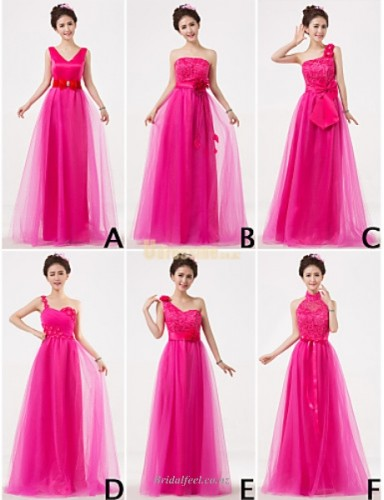 A-line Floor-length Rose Red Tulle Bridesmaid Dress