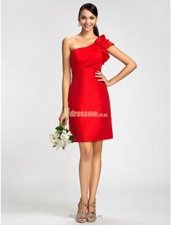 Sheath/Column Knee-length One Shoulder Red Satin Bridesmaid Dress
