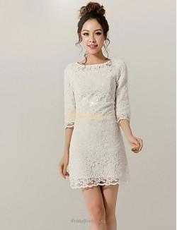 Sheath/Column Short Lace Half Sleeves Zipper Back Brideamaid Dress