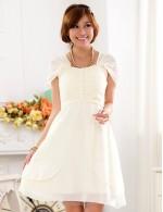 Elegant Short Knee Length White Chiffon Bridesmaid Dress