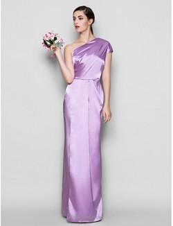 Sheath/Column Floor-Length One Shoulder Lavender Satin Bridesmaid Dress