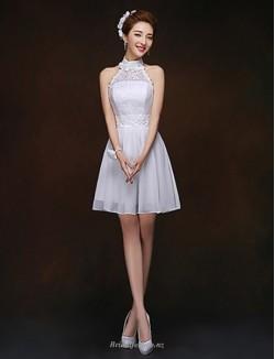 Short/Mini Little A-line Lace-up Halter-neck Chiffon Bridesmaid Dress