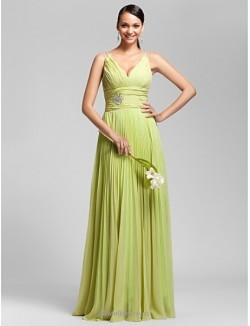 A-Line Floor-Length Deep V-neck Spaghetti Straps Bridesmaid Dress With Beading