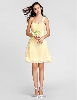 A-line One Shoulder Zipper Back Short Yellow Chiffon Bridesmaid Dress