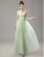 A-line Floor Length Lace-up Queen Anne Tulle Bridesmaid Dress