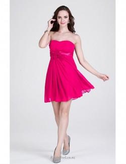 A-line Short/Mini Strapless Chiffon Bridesmaid Dress