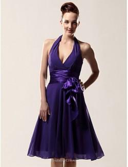 A-line Short Knee Length Purple Chiffon Bridesmaid Dress Halter-neck