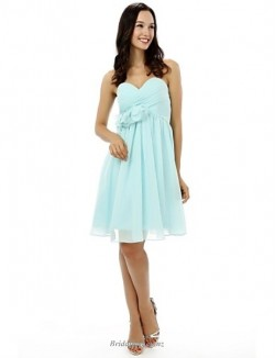 Simple Knee Length Lace-up Chiffon Bridesmaid Dress Strapless