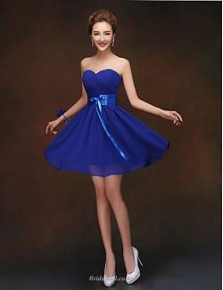 Short/Mini Strapless Blue Chiffon Bridesmaid Dress With Ribbons
