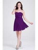 Simple Short Purple Chiffon Strapless Bridesmaid Dress