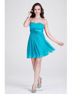 Simple Short Mini Strapless Blue Chiffon Bridesmaid Dress
