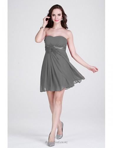 Short Mini Strapless A-line Chiffon Grey Bridesmaid Dress