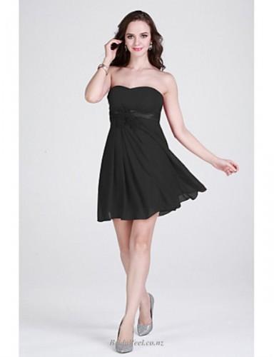 A-line Little Short Mini Strapless Black Chiffon Bridesmaid Dress
