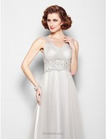 Elegant A-line Floor Length V-neck Grey Bridesmaid Dress With Beading