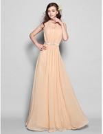 A-line Floor Length Chiffon Champagne Bridesmaid Dress Nz Halter-neck Zipper Back Evening Dress