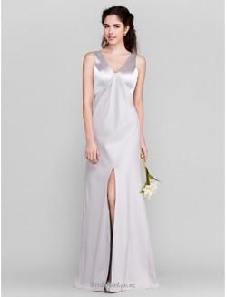 Elegant Floor-Length V-neck Zipper Back A-line Satin Front Slit Silver Bridesmaid Dress
