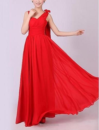 A-line Floor-Length Zipper Back Red Chiffon Bridesmaid Dress