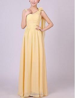 Fashion A-line Floor Length Yellow Chiffon Bridesmaid Dress With Long Shoulder Strap