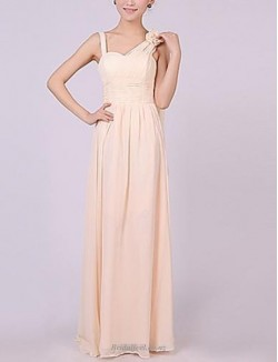 A-line Queen Anne Floor Length Pink Chiffon Bridesmaid Dress With Long Shoulder Strap
