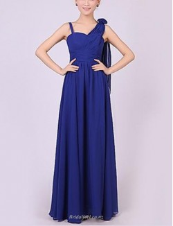 Sexy A-line Floor Length Blue Chiffon Bridesmaid Dress With Long Shoulder Strap