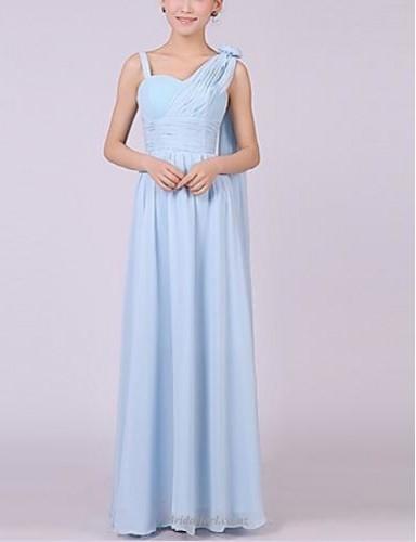 Fashion Floor-Length Sky Blue A-line Chiffon Bridesmaid Dress