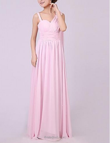 Fashion Floor-Length Pink Chiffon Bridesmaid Dress Nz