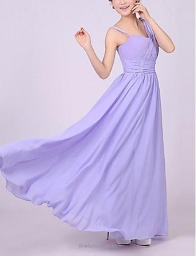 Simple Floor-Length A-line Lavender Chiffon Bridesmaid Dress