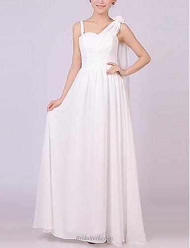 Elegant Floor Length White Chiffon A-line Bridemsia Dress
