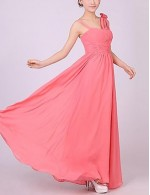A-line Floor Length Watermelon Pink Chiffon Bridesmaid Dress