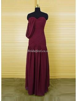 Floor Length A Line Sweetheart Bridesmaid Dress With Ruffles