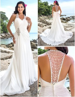 Nz Bride® Sheath Column Petite Plus Sizes Dresses Wedding Dress Chic Modern Elegant Luxurious Open Back Chapel Train V Neck