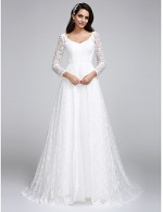 2017 A Line Wedding Dress Court Train V Neck Lace With Lace