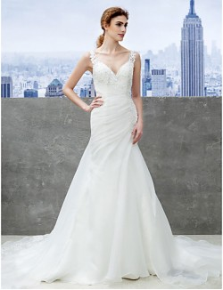 Nz Bride® Trumpet Mermaid Wedding Dress Chapel Train Sweetheart Organza With Appliques