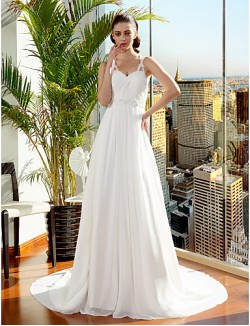 Nz Bride® A Line Princess Petite Plus Sizes Dresses Wedding Dress Court Train Spaghetti Straps Chiffon With