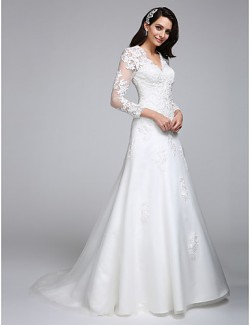 A Line Wedding Dress Court Train V Neck Satin Tulle With Appliques