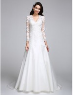 2017 A Line Wedding Dress Court Train V Neck Satin Tulle With Appliques