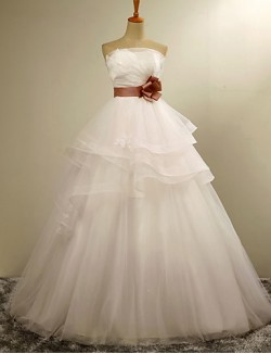 Ball Gown Wedding Dress Long Floor Length Strapless Organza With Tiered Appliques Flower Sash Ribbon